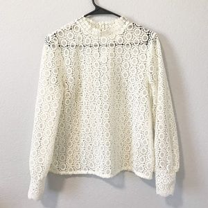Cream lace full sleeve mock neck blouse